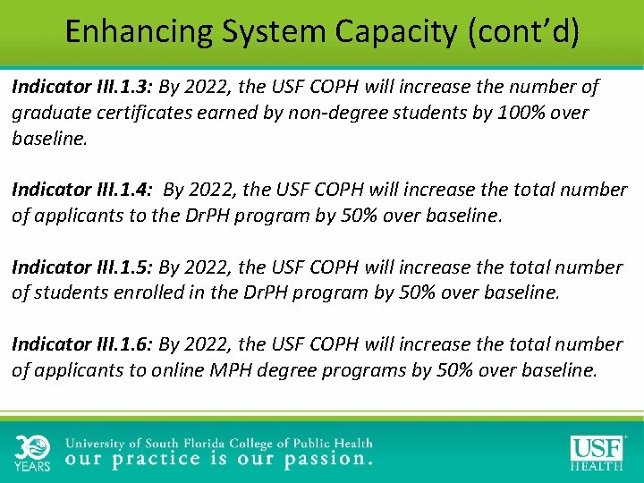 Enhancing System Capacity (cont'd) Indicator III. 1. 3: By 2022, the USF COPH will