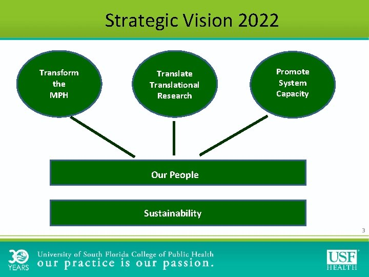 Strategic Vision 2022 Transform the MPH Translate Translational Research Promote System Capacity Our People