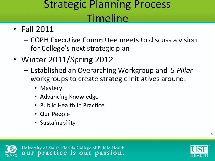 Strategic Planning Process Timeline • Fall 2011 – COPH Executive Committee meets to discuss