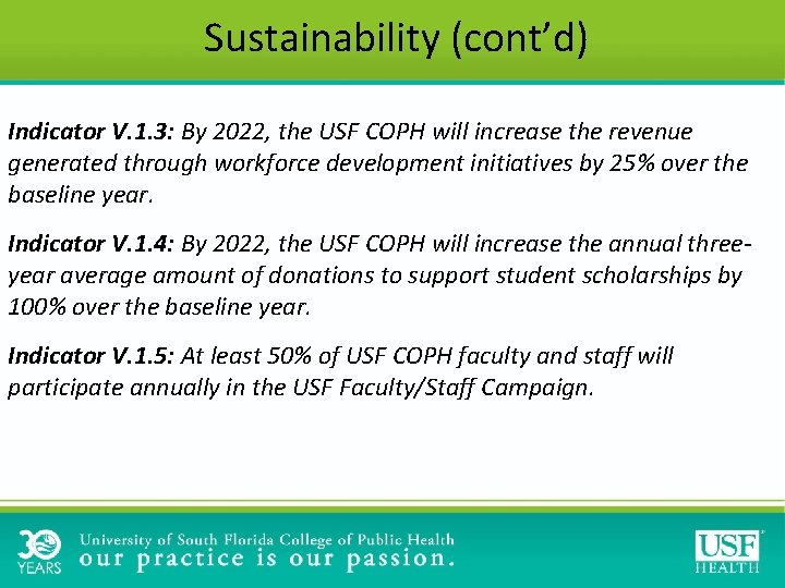 Sustainability (cont'd) Indicator V. 1. 3: By 2022, the USF COPH will increase the