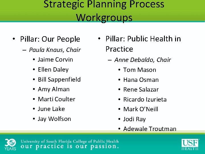 Strategic Planning Process Workgroups • Pillar: Our People – Paula Knaus, Chair • Jaime