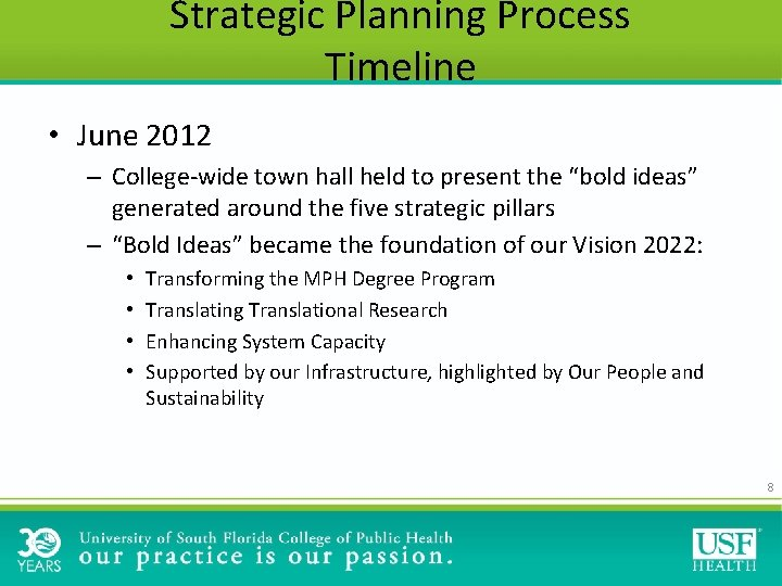 Strategic Planning Process Timeline • June 2012 – College-wide town hall held to present