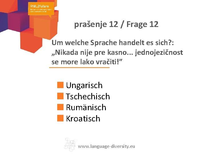 "prašenje 12 / Frage 12 Um welche Sprache handelt es sich? : ""Nikada nije"