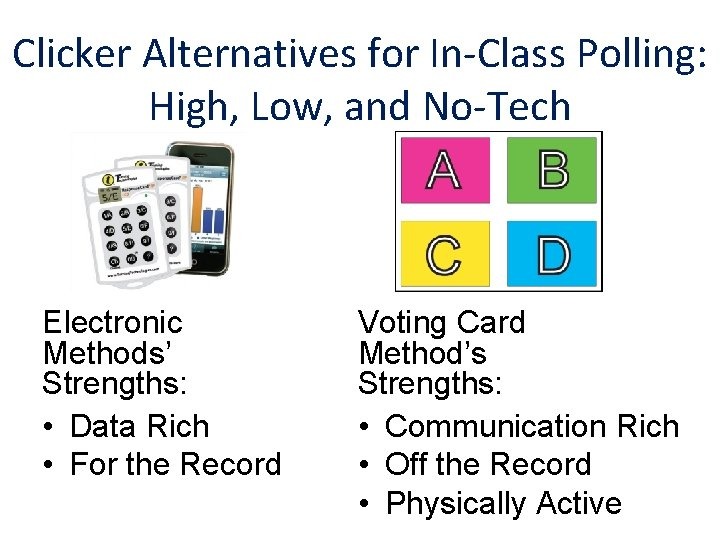Clicker Alternatives for In-Class Polling: High, Low, and No-Tech Electronic Methods' Strengths: • Data