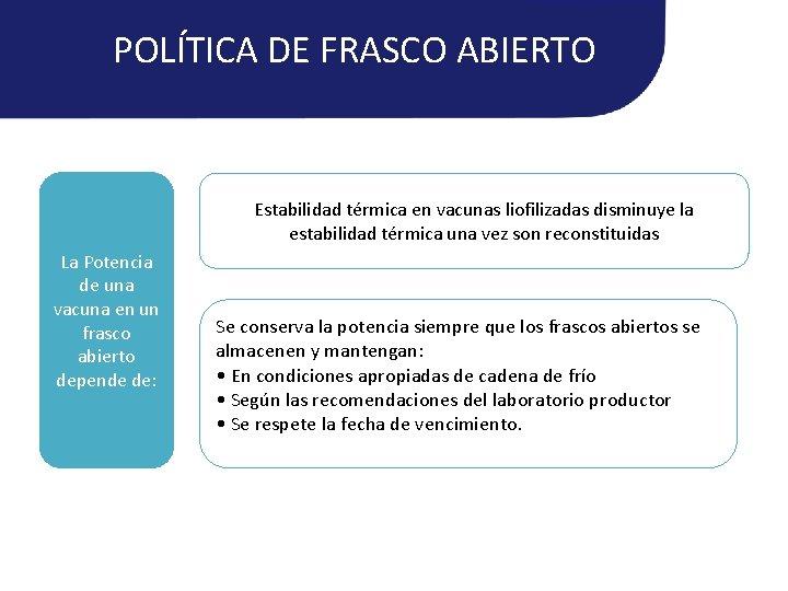POLÍTICA DE FRASCO ABIERTO Estabilidad térmica en vacunas liofilizadas disminuye la estabilidad térmica una
