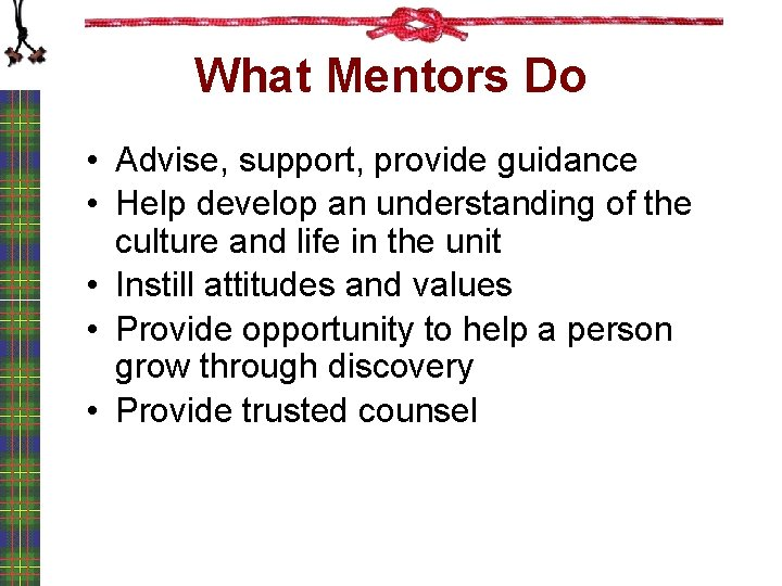 What Mentors Do • Advise, support, provide guidance • Help develop an understanding of