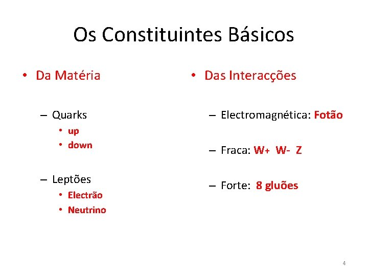 Os Constituintes Básicos • Da Matéria – Quarks • up • down – Leptões