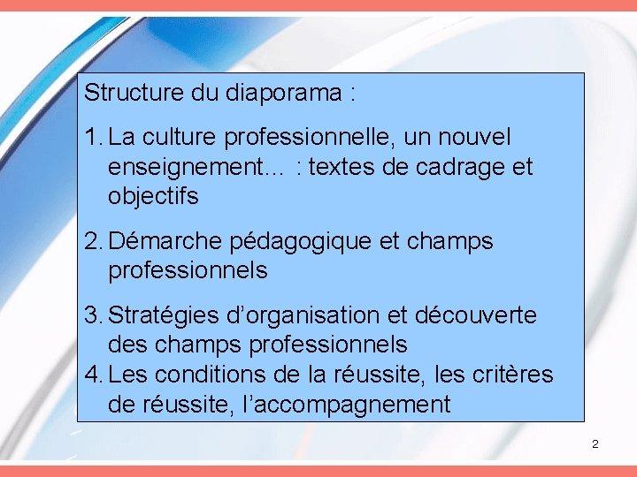 Structure du diaporama : 1. La culture professionnelle, un nouvel enseignement… : textes de