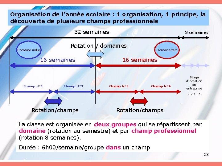 Organisation de l'année scolaire : 1 organisation, 1 principe, la découverte de plusieurs champs