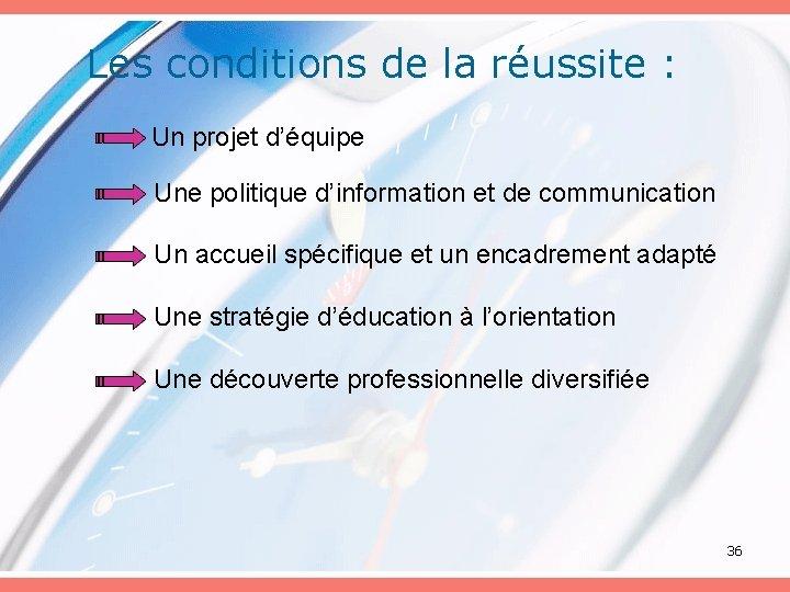 Les conditions de la réussite : Un projet d'équipe Une politique d'information et de