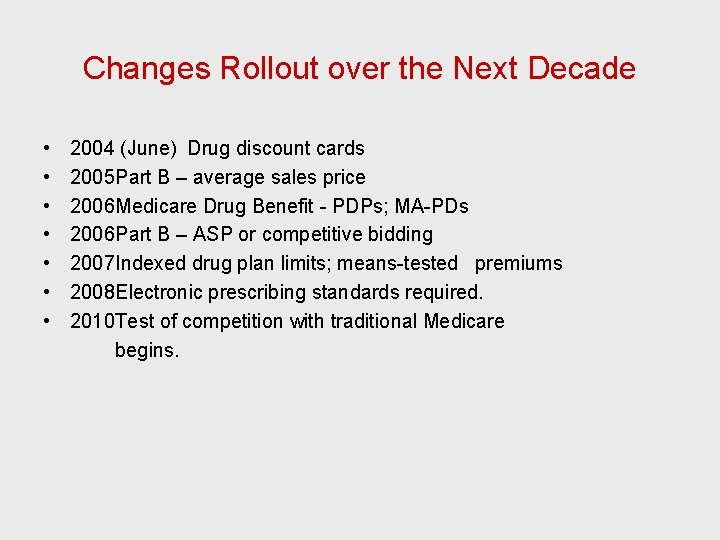 Changes Rollout over the Next Decade • • 2004 (June) Drug discount cards 2005