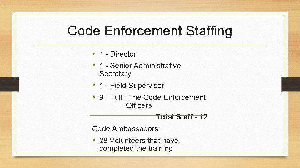 Code Enforcement Staffing • 1 - Director • 1 - Senior Administrative Secretary •