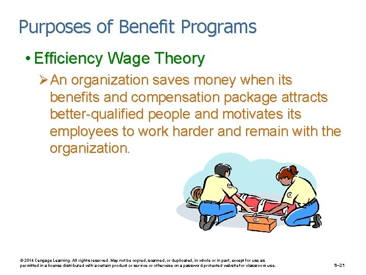 Purposes of Benefit Programs • Efficiency Wage Theory Ø An organization saves money when