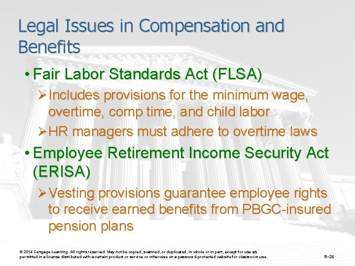 Legal Issues in Compensation and Benefits • Fair Labor Standards Act (FLSA) Ø Includes