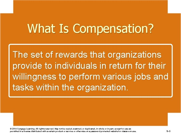 What Is Compensation? The set of rewards that organizations provide to individuals in return