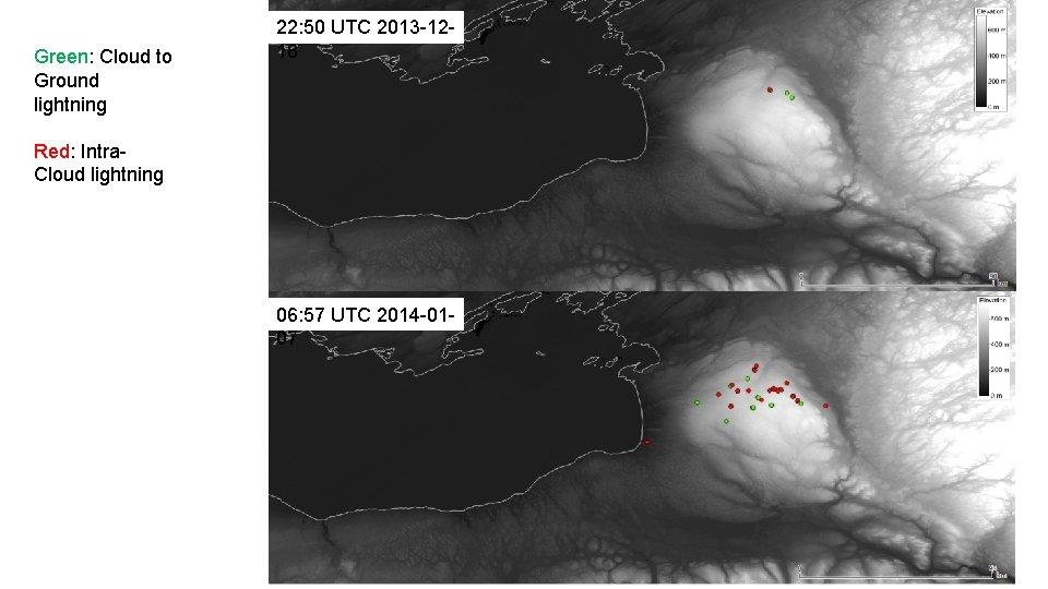 Green: Cloud to Ground lightning 22: 50 UTC 2013 -1218 Red: Intra. Cloud lightning