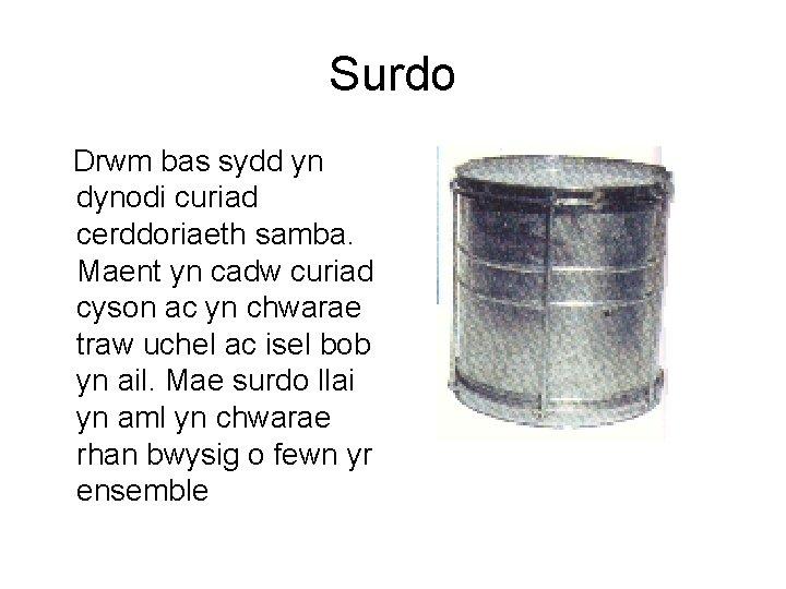 Surdo Drwm bas sydd yn dynodi curiad cerddoriaeth samba. Maent yn cadw curiad cyson