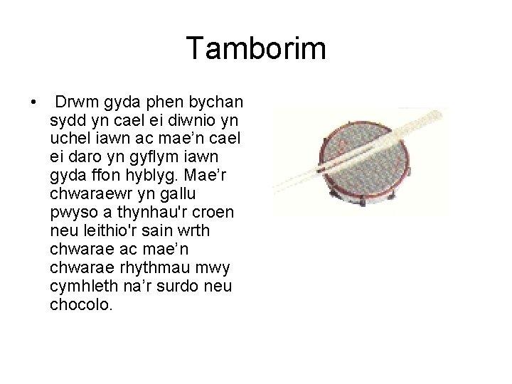 Tamborim • Drwm gyda phen bychan sydd yn cael ei diwnio yn uchel iawn