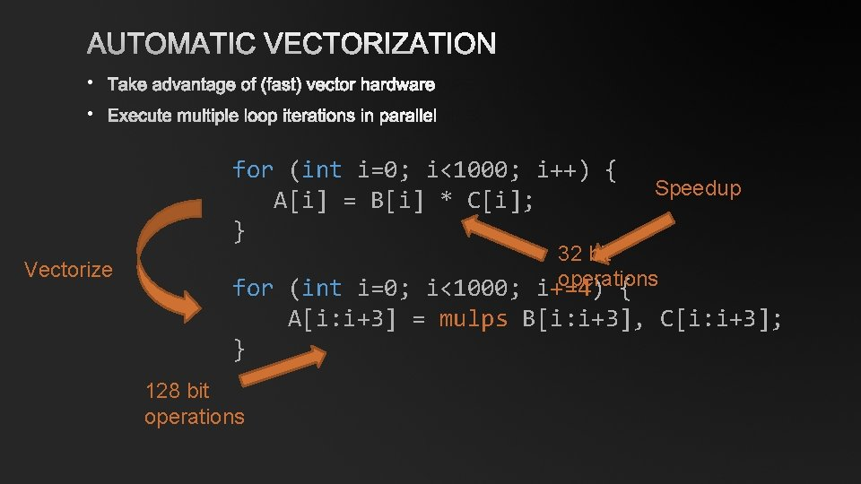 AUTOMATIC VECTORIZATION • TAKE ADVANTAGE OF (FAST) VECTOR HARDWARE • EXECUTE MULTIPLE LOOP ITERATIONS