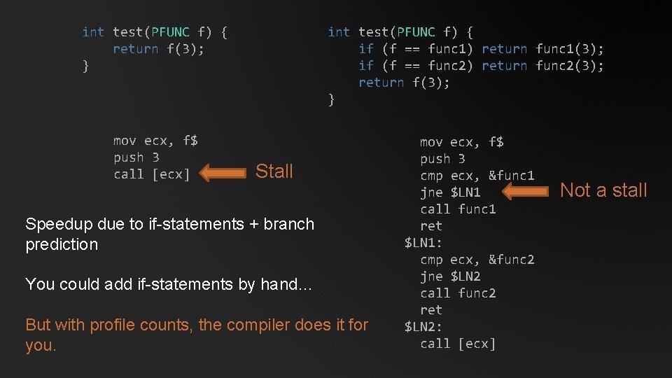 int test(PFUNC f) { return f(3); } int test(PFUNC f) { if (f ==