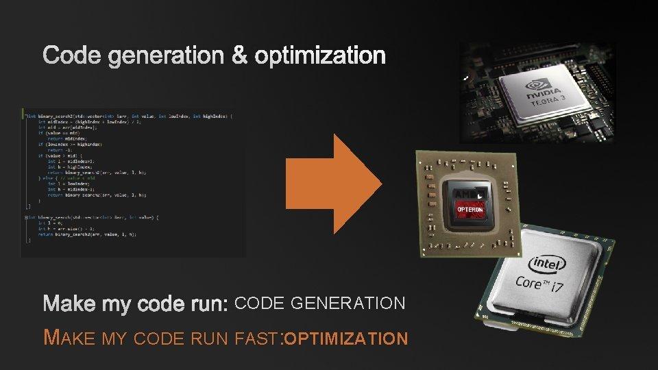 CODE GENERATION & OPTIMIZATION MAKE MY CODE RUN: CODE GENERATION MAKE MY CODE RUN