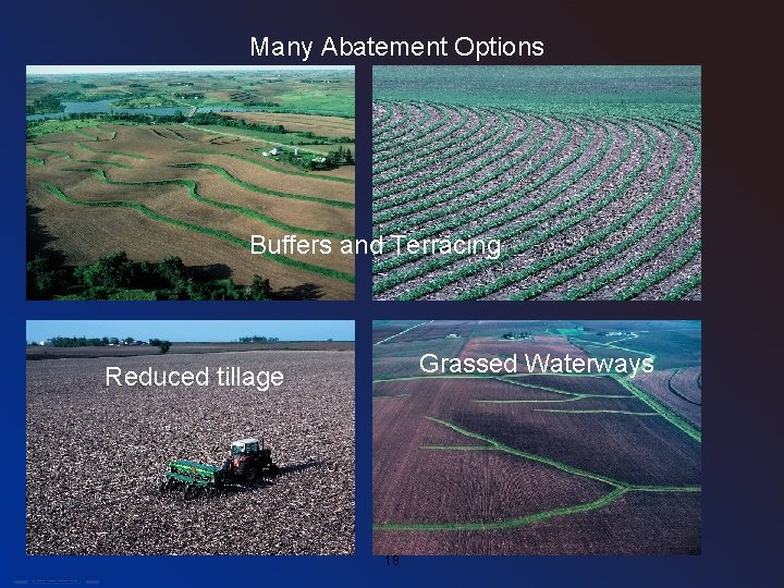 Many Abatement Options Buffers and Terracing Grassed Waterways Reduced tillage • Photos courtesy of