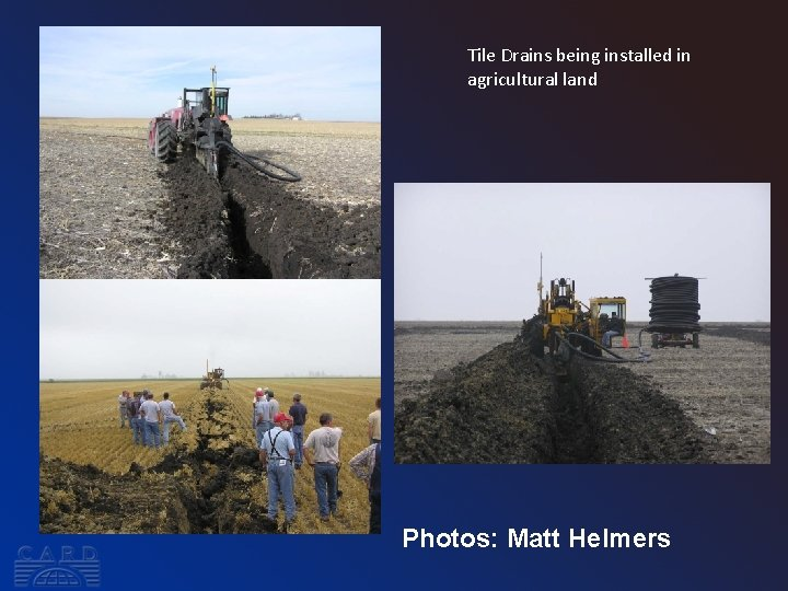 Tile Drains being installed in agricultural land Photos: Matt Helmers