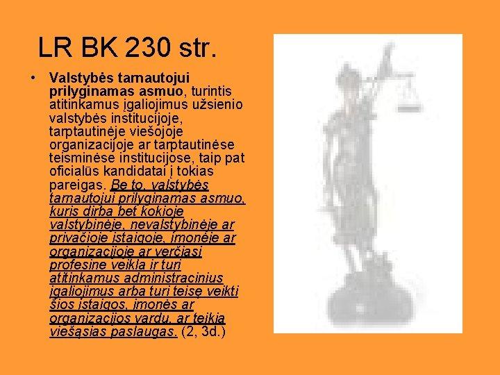LR BK 230 str. • Valstybės tarnautojui prilyginamas asmuo, turintis atitinkamus įgaliojimus užsienio valstybės