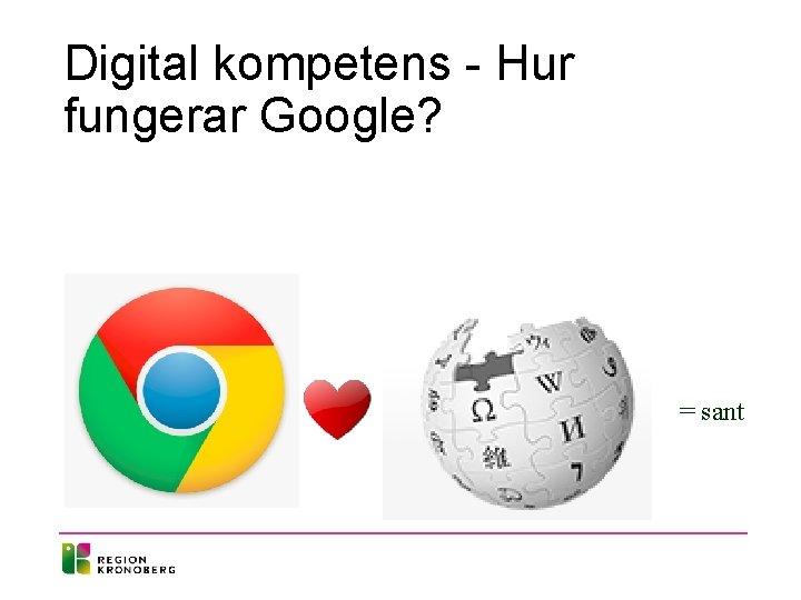 Digital kompetens - Hur fungerar Google? = sant