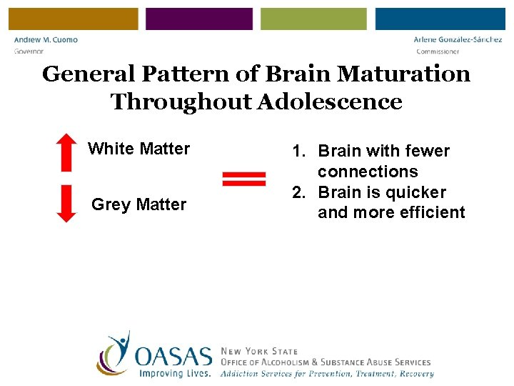 General Pattern of Brain Maturation Throughout Adolescence White Matter Grey Matter 1. Brain with