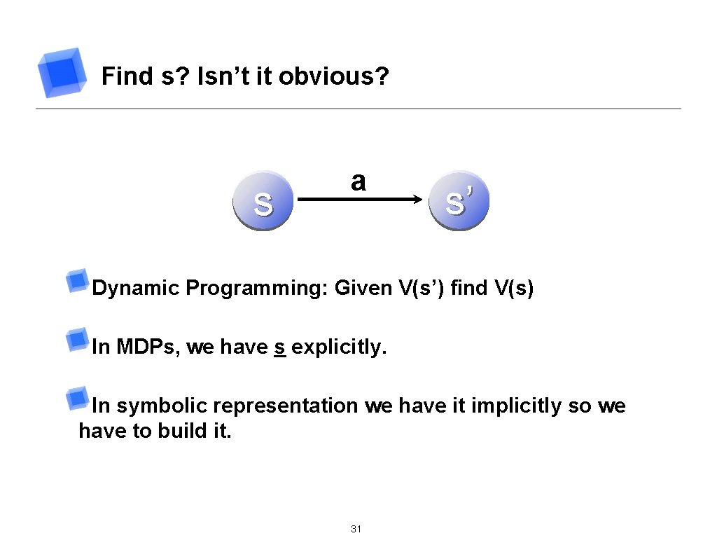 Find s? Isn't it obvious? s a s' Dynamic Programming: Given V(s') find V(s)