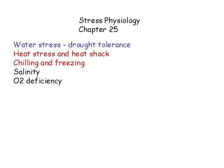 Stress Physiology Chapter 25 Water stress – drought tolerance Heat stress and heat shock