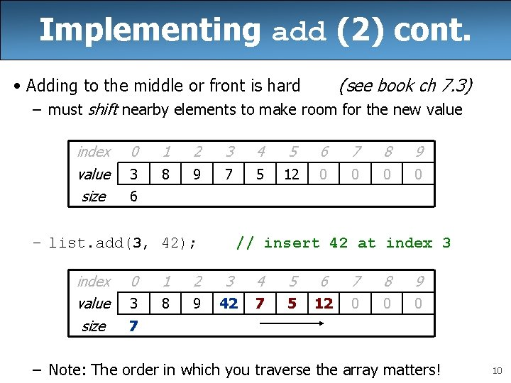 Implementing add (2) cont. • Adding to the middle or front is hard (see
