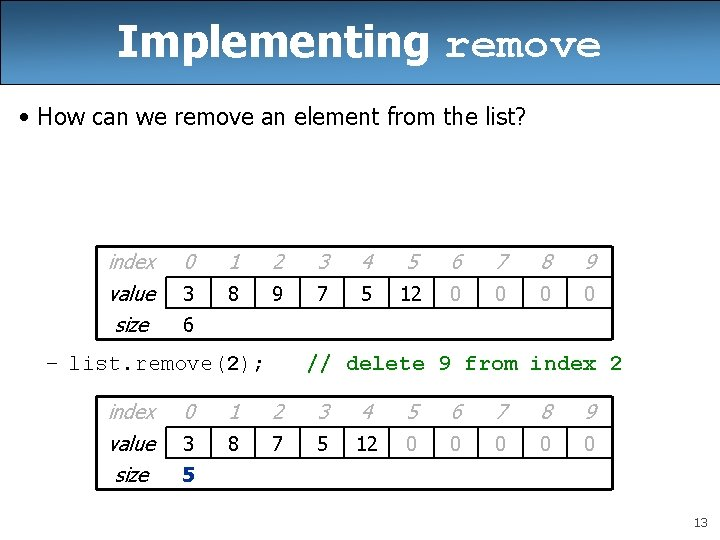 Implementing remove • How can we remove an element from the list? index value