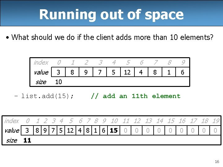 Running out of space • What should we do if the client adds more