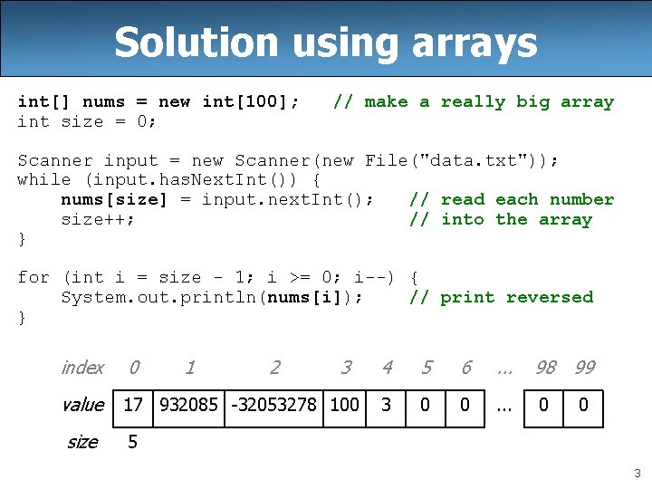 Solution using arrays int[] nums = new int[100]; int size = 0; // make
