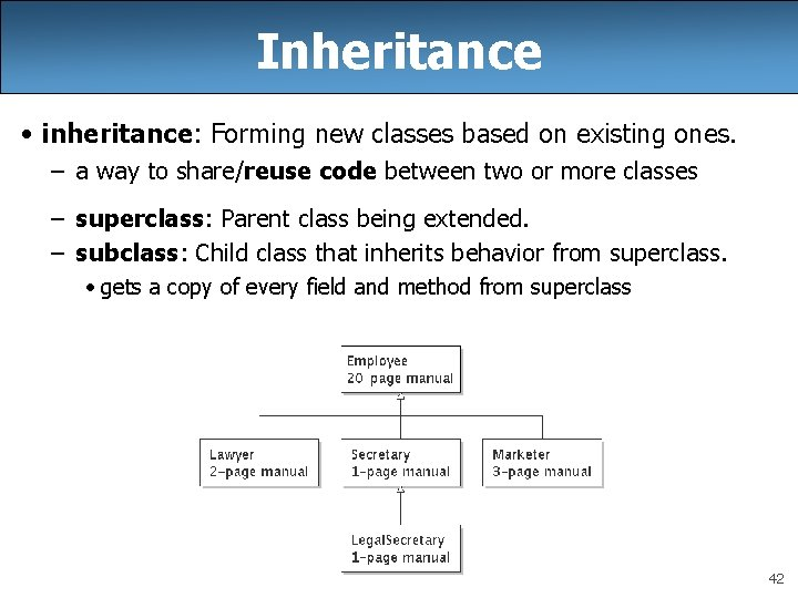 Inheritance • inheritance: Forming new classes based on existing ones. – a way to