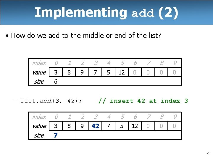Implementing add (2) • How do we add to the middle or end of