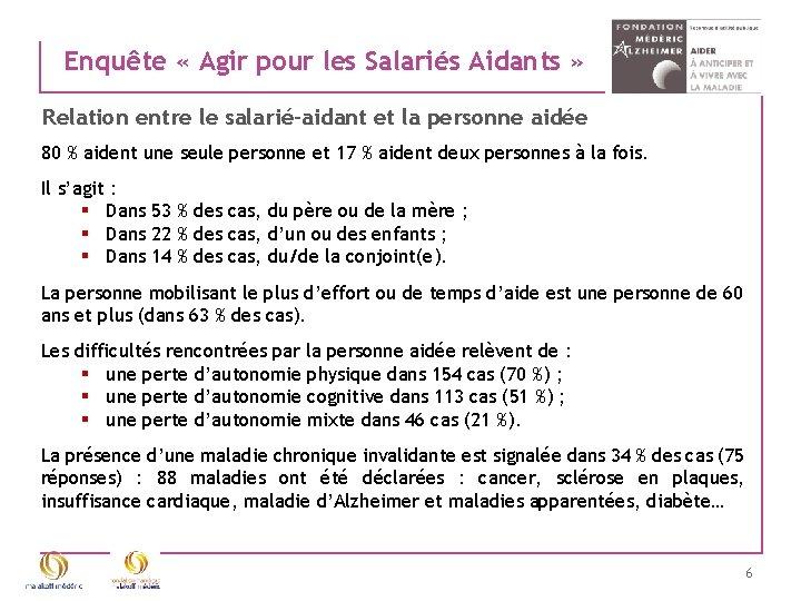 Enquête « Agir pour les Salariés Aidants » Relation entre le salarié-aidant et la
