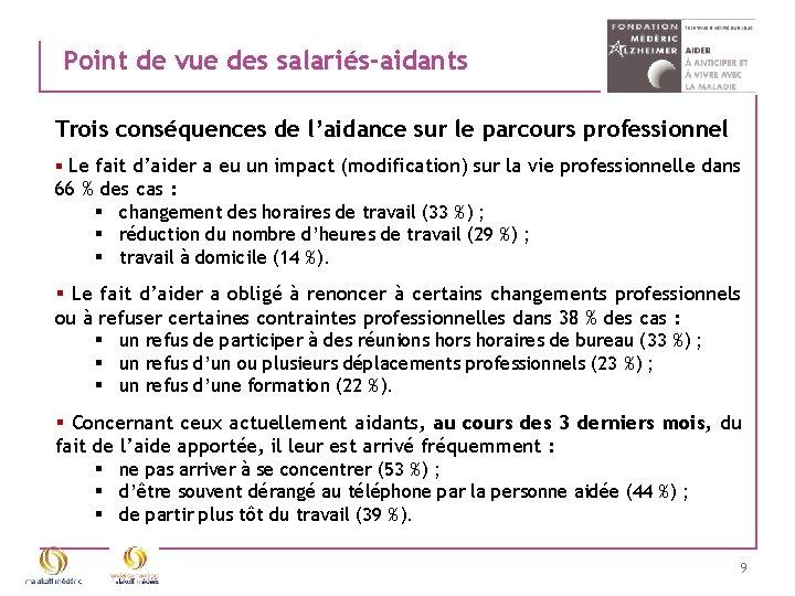 Point de vue des salariés-aidants Trois conséquences de l'aidance sur le parcours professionnel §