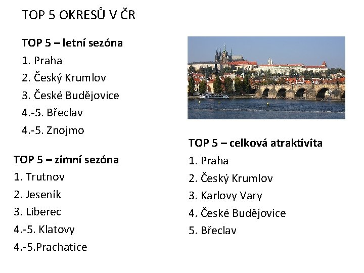 TOP 5 OKRESŮ V ČR TOP 5 – letní sezóna 1. Praha 2. Český