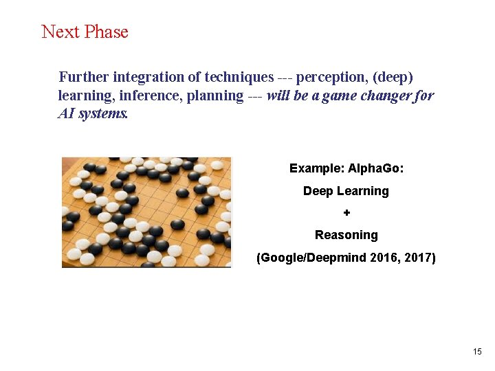 Next Phase Further integration of techniques --- perception, (deep) learning, inference, planning --- will