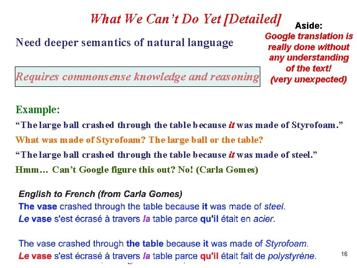 What We Can't Do Yet [Detailed] Need deeper semantics of natural language Requires commonsense