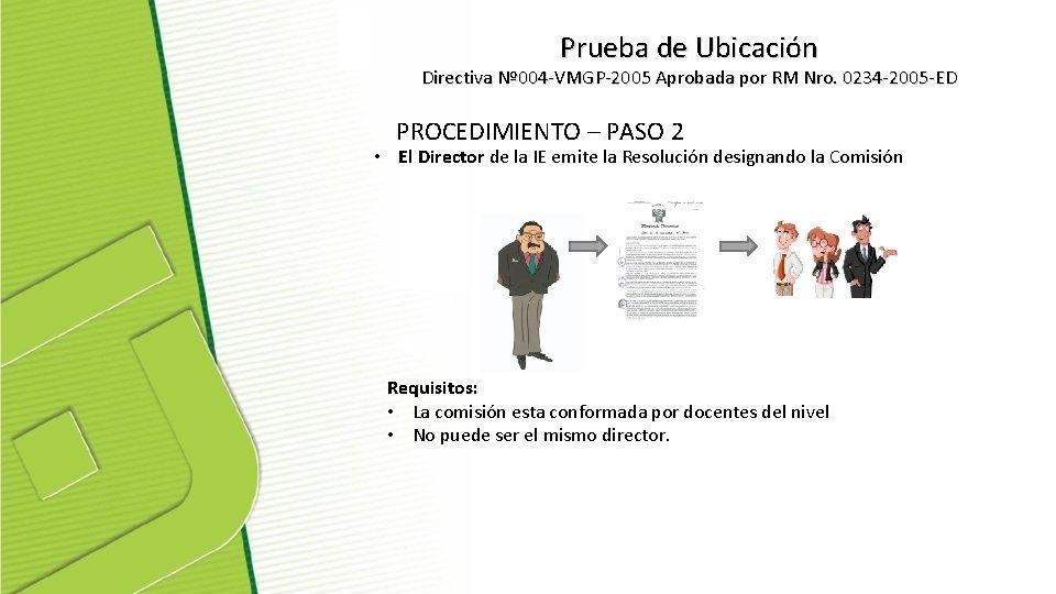 Prueba de Ubicación Directiva Nº 004 -VMGP-2005 Aprobada por RM Nro. 0234 -2005 -ED