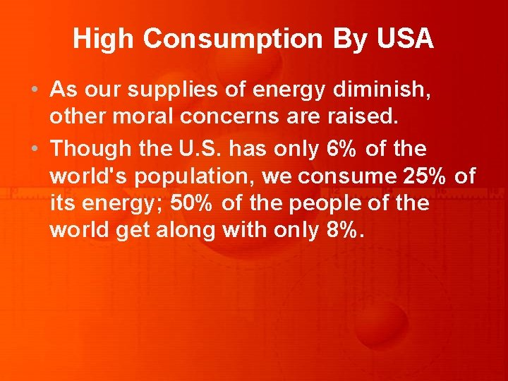 High Consumption By USA • As our supplies of energy diminish, other moral concerns