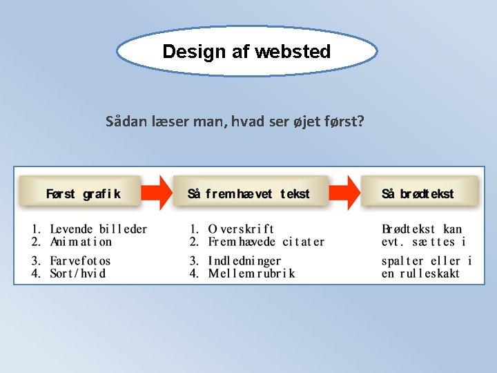 Design af websted Sådan læser man, hvad ser øjet først?