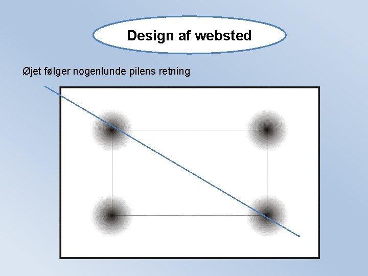 Design af websted Øjet følger nogenlunde pilens retning