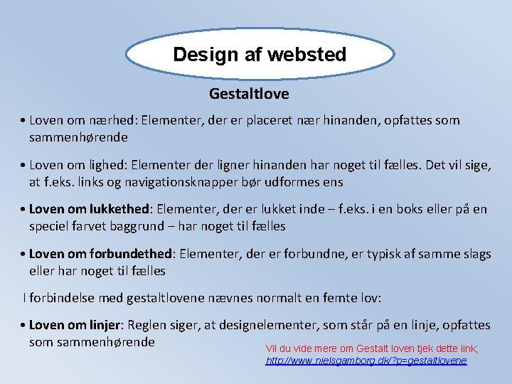 Design af websted Gestaltlove • Loven om nærhed: Elementer, der er placeret nær hinanden,