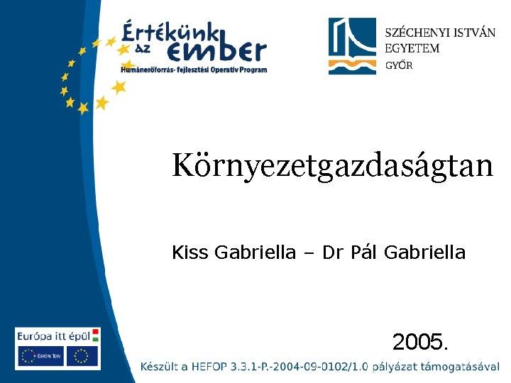 Környezetgazdaságtan Kiss Gabriella – Dr Pál Gabriella 2005.