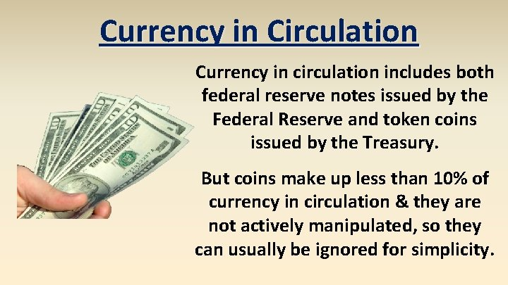 Currency in Circulation Currency in circulation includes both federal reserve notes issued by the